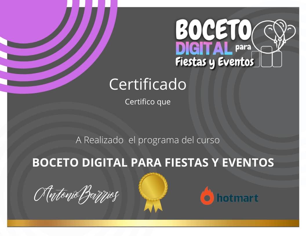 certificado de el curso online bocetos digitales para fiestas y eventos 2021 2022